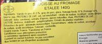 Saucisses au fromage étalée - Ingrédients - fr