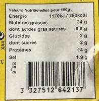 Saucisses au fromage étalée - Informations nutritionnelles - fr