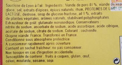 Saucisse à l'ail x2 - Ingrédients - fr