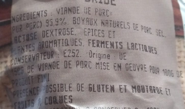 Saucisson sec tradition façon artisanale - Ingrediënten - fr