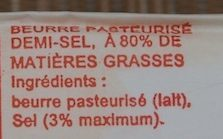 Beurre Demi-Sel - Ingrédients - fr