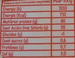 Beurre Demi-Sel - Informations nutritionnelles