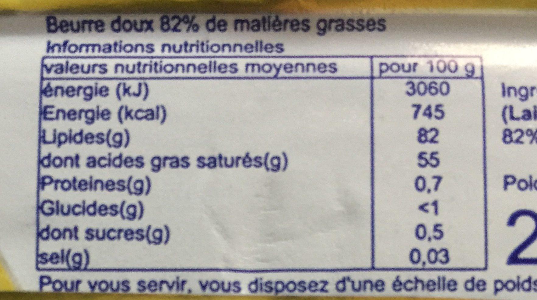 Beurre doux - Nutrition facts - fr