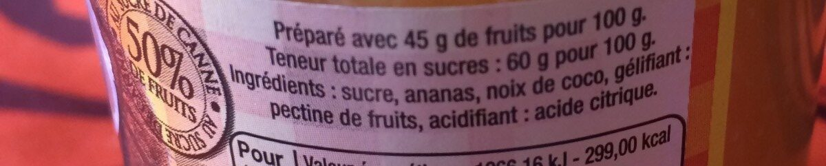 Confiture extra coco ananas - Ingredients