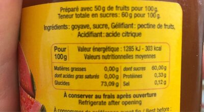 Confiture Extra Goyave - Nutrition facts - fr