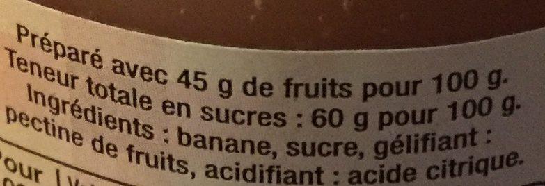 Confiture Banane - Ingredients