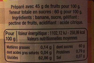 Confiture Banane - Nutrition facts
