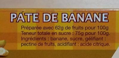Pâte de banane - Ingredients