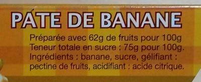 Pâte de banane - Nutrition facts