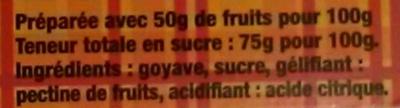 Pâte de goyave - Ingrédients