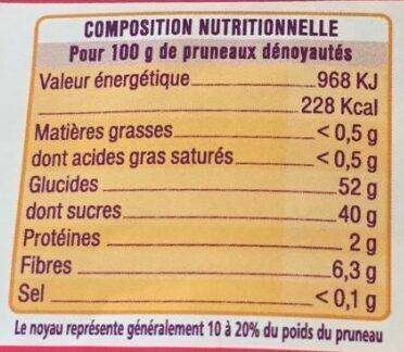 Pruneaux d'agen mi-cuits - Voedingswaarden
