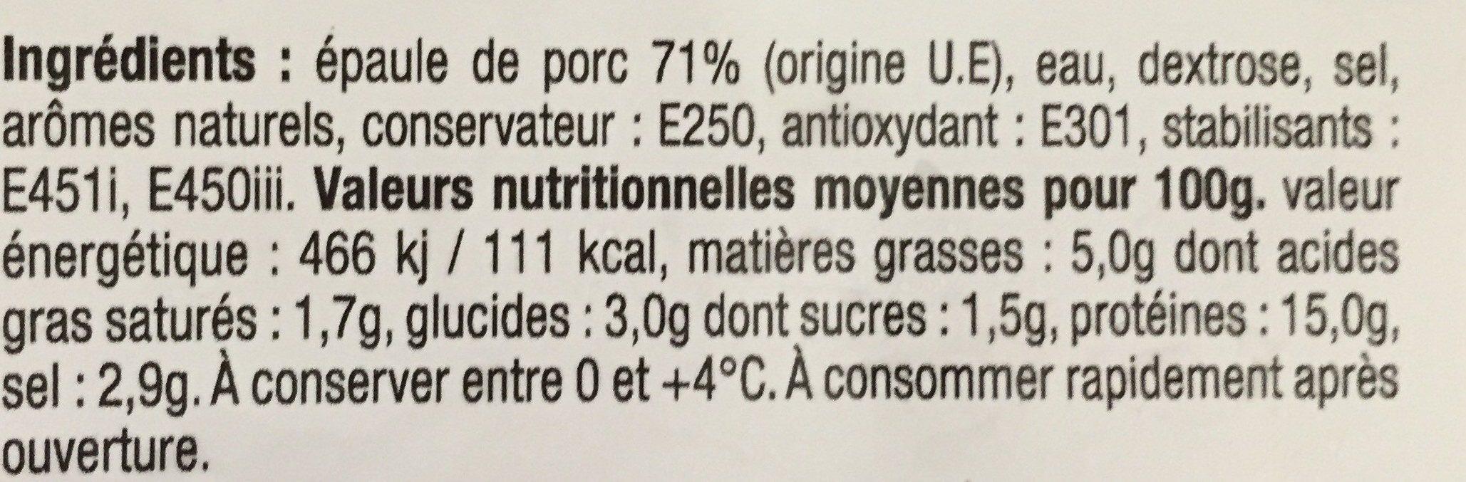 Epaule Cuite - Ingrédients - fr