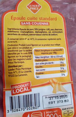Epaule Cuite - Informations nutritionnelles - fr