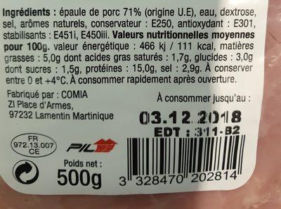 Épaule cuite standard - Ingredients