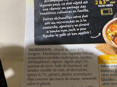 Colombo de porc aux legumes a la creole - Ingrédients