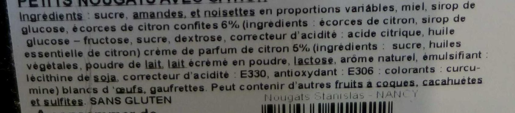 Nougat tendres citron - Ingrédients - fr
