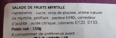 "Bonbons ""Salade de fruits myrtille"" - Ingredients"