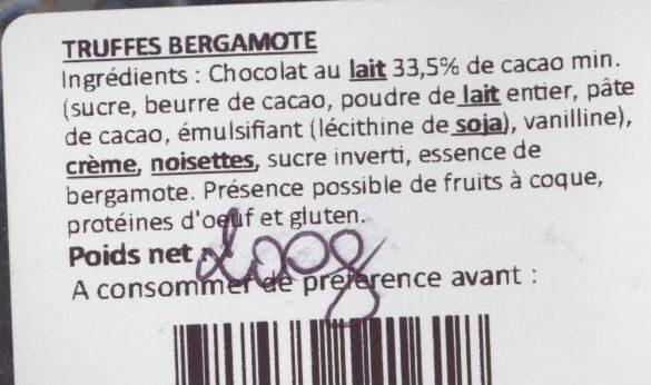 Truffes Bergamote - Ingredients - fr