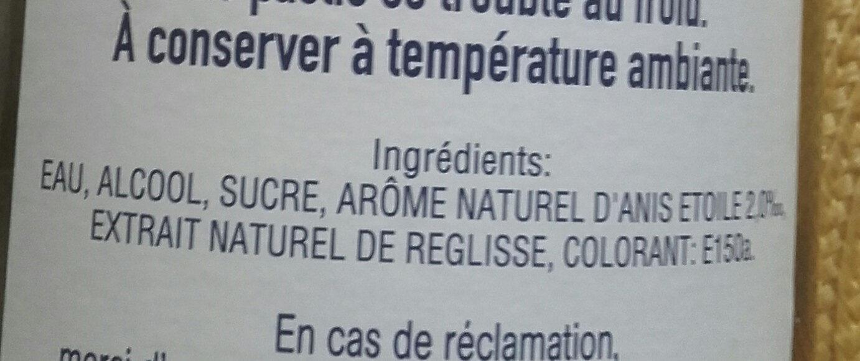 Pastis 100 cl - Ingredienti - fr