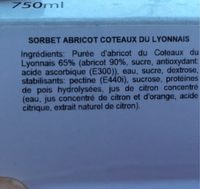 Sorbet abricot coteau du lyonnais - Ingredientes - fr