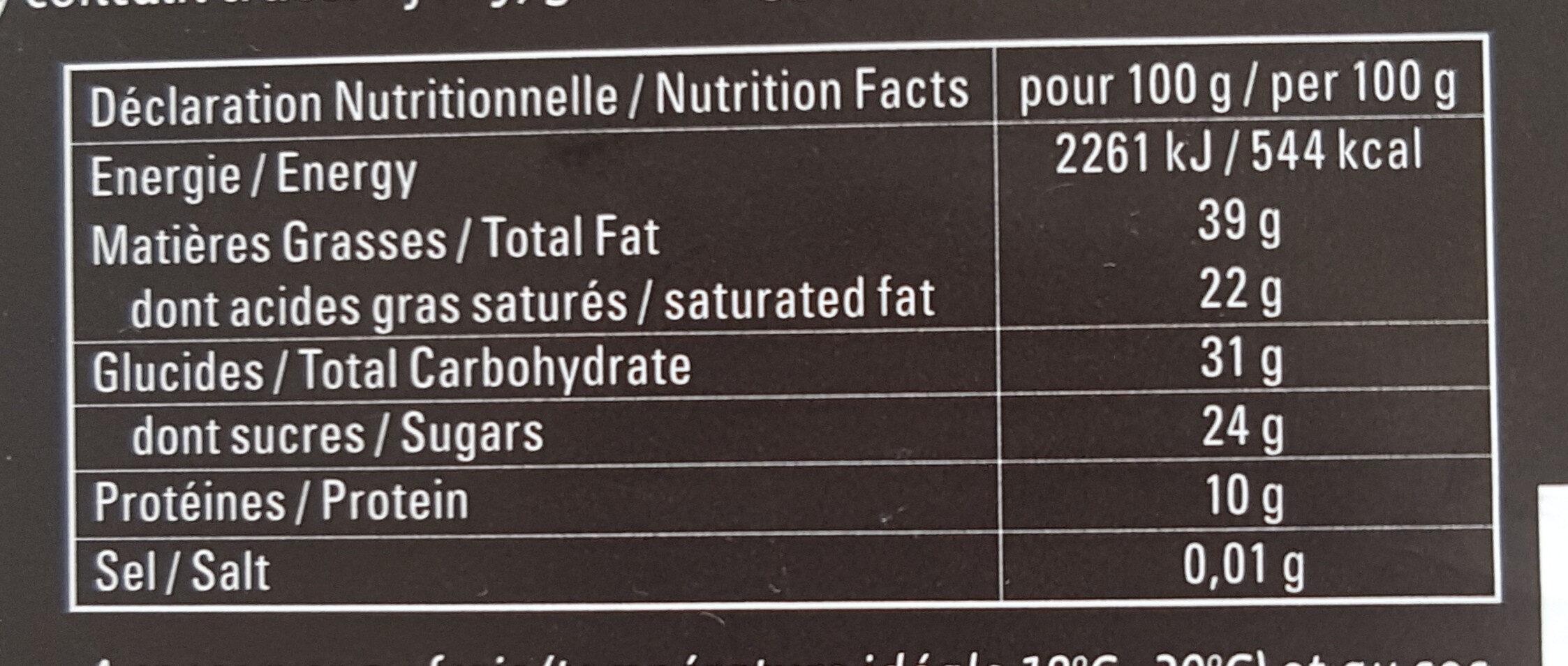 Chocolat noir 72% - Voedigswaarden