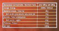 Noir pâtissier - Informations nutritionnelles