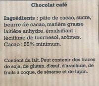 Chocolat Café Patissier - Ingrédients