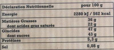 Chocolat Café Patissier - Informations nutritionnelles