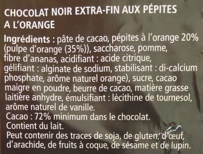 Noir pepites a l'orange - Ingrédients - fr