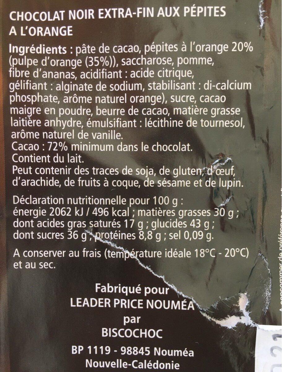 Noir pepites a l'orange - Informations nutritionnelles - fr