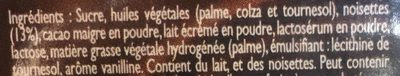 Pâte à Tartiner Noisety - Ingrediënten