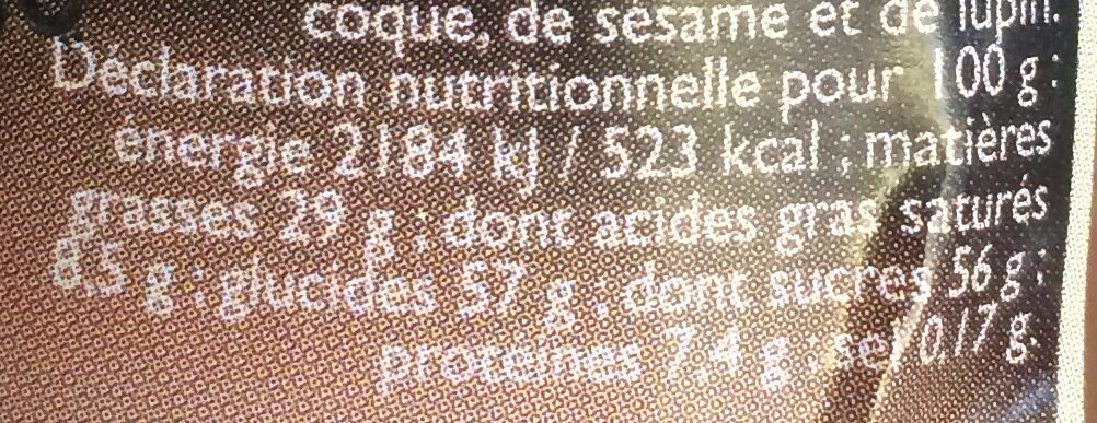 Pâte a tartiner - Voedingswaarden