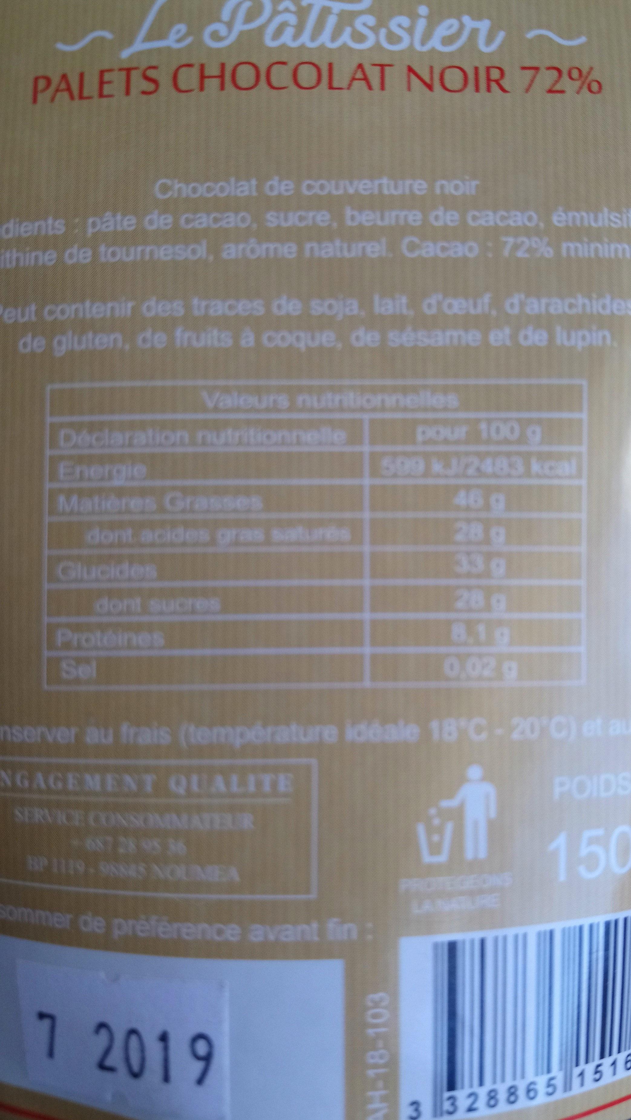 les plaisirs gourmands palets 72% chocolat noir - Ingredients - fr