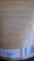 les plaisirs gourmands palets 72% chocolat noir - Nutrition facts - fr