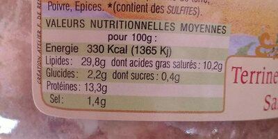Terrine de chevreuil saint Hubert - Nutrition facts - fr