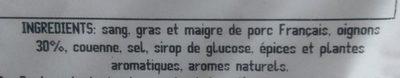 Boudin noir - Ingrédients - fr
