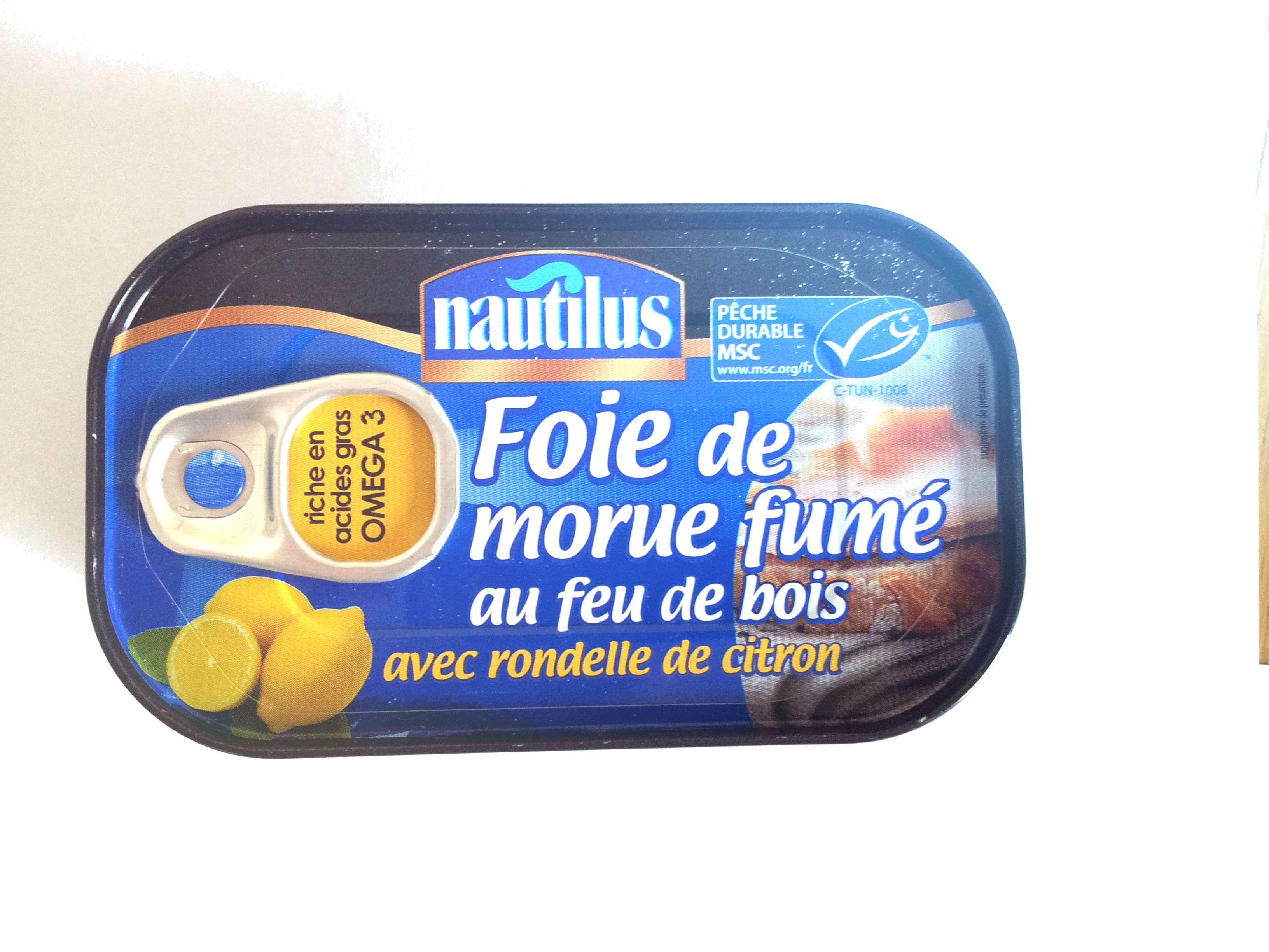 foie de morue fum au feu de bois avec rondelle de citron nautilus 120 g. Black Bedroom Furniture Sets. Home Design Ideas