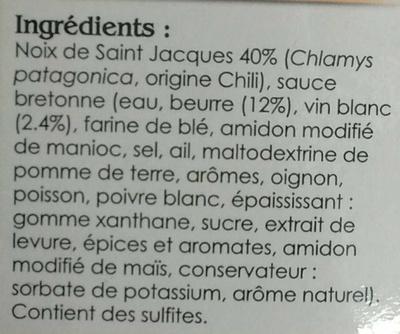 Noix de Saint Jacques à la bretonne - Ingrédients