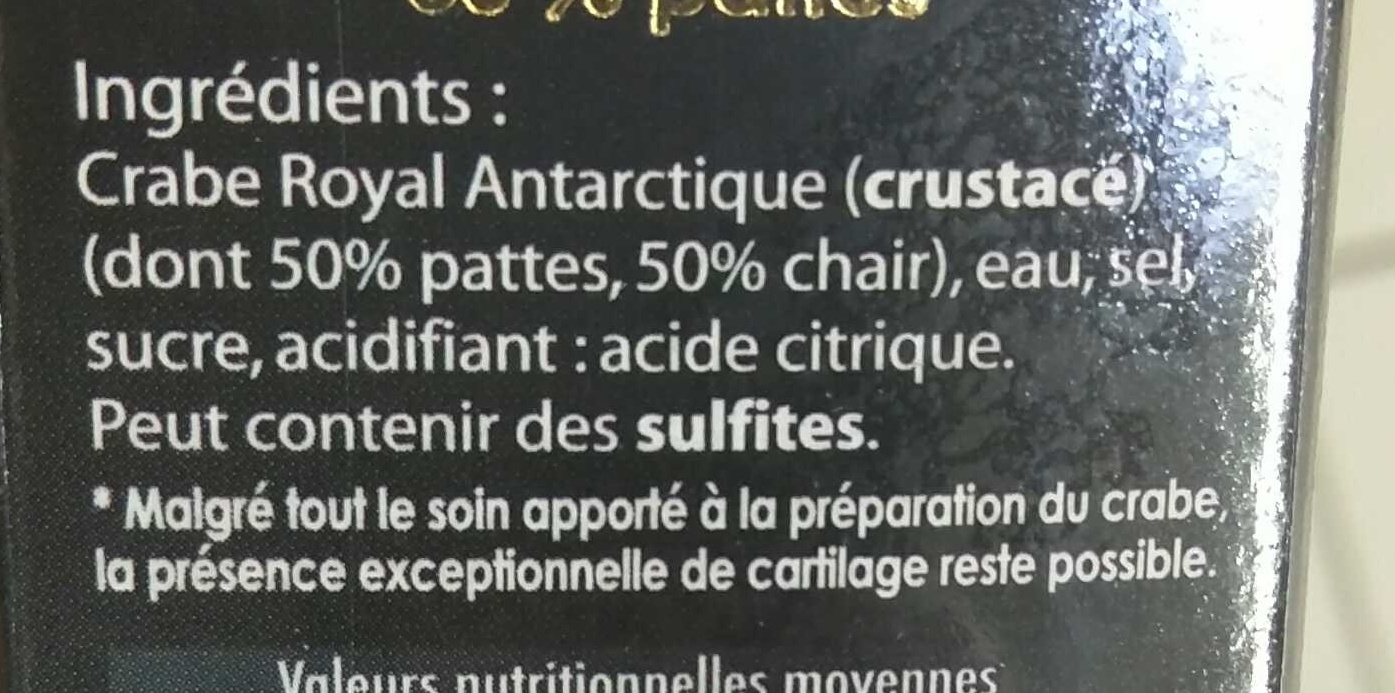Crabe Royal Antarctique - Ingrédients