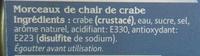 Crabe 100% Morceaux - Ingrédients
