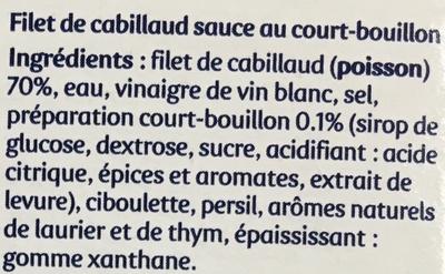 Filet de Cabillaud sauce au Court-Bouillon - Ingrédients - fr