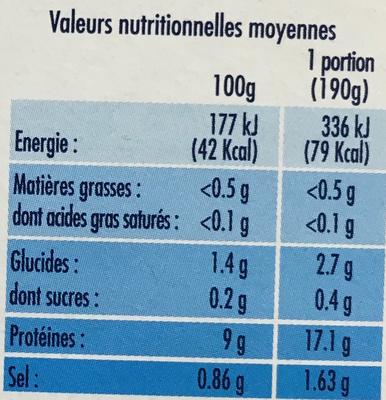 Filet de Cabillaud sauce au Court-Bouillon - Informations nutritionnelles - fr