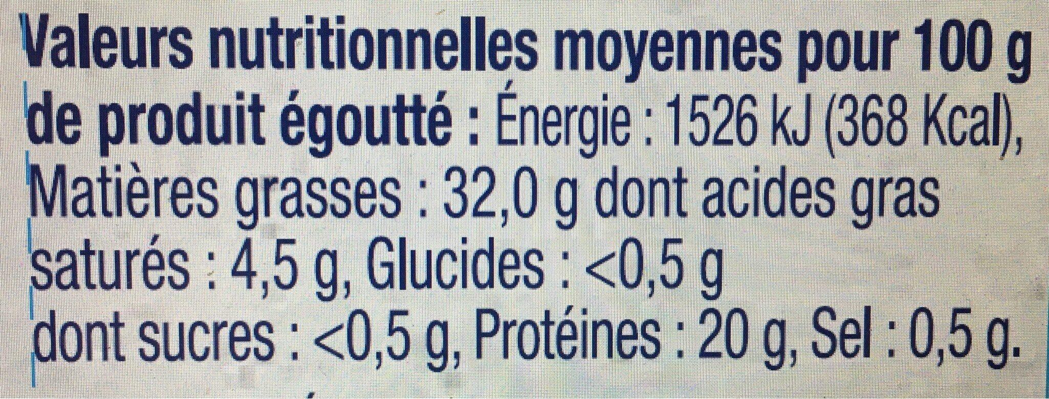 Filet de thon MSC Huile d'olive Bio - Valori nutrizionali - fr