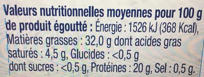 Filets de thon MSC HO bio et citron bio - Nutrition facts