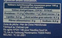 Crabes morceaux et pattes - Nutrition facts - fr