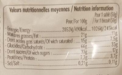 Lunettes  de Romans - Informations nutritionnelles - fr
