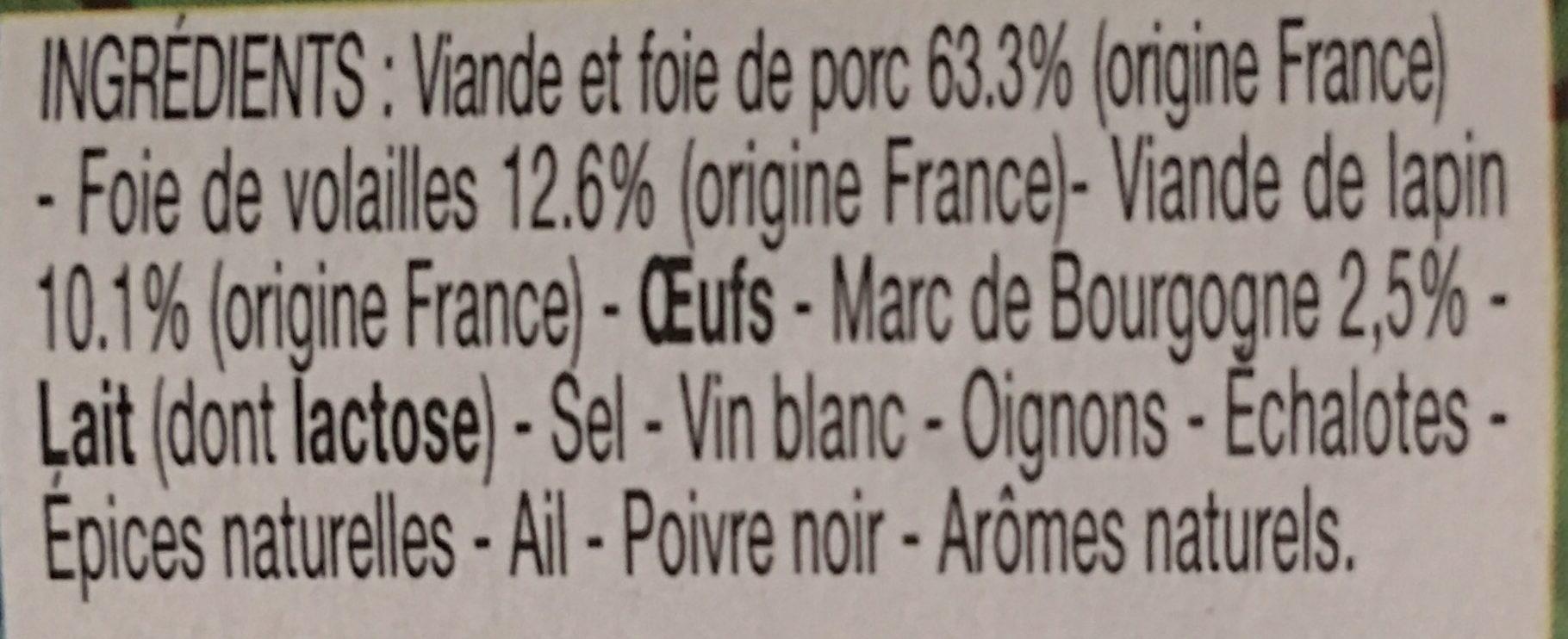 Terrine Morvandelle au marc de Bourgogne - Ingredients - fr