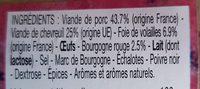 Terrine de chevreuil - Ingredients