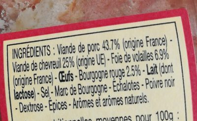 Terrine de chevreuil au vin de Bourgogne - Ingrédients - fr
