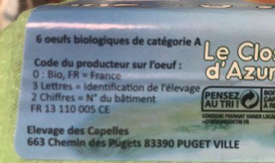 Oeuf bio - Ingrediënten - fr